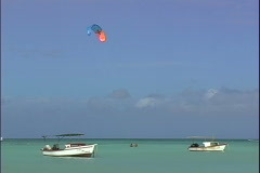 Waterfront Parasail-ws Stock Footage