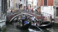 Stock Video Footage of Venice canal lots of gondolas