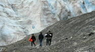 Stock Video Footage of Exit Glacier Seward Alaska hikers P HD 1649