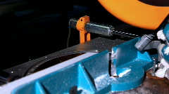 Machine for cutting plastic profile close up Stock Footage