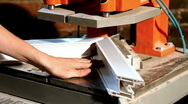 Weld plastic corner - pvc window manufacture Stock Footage