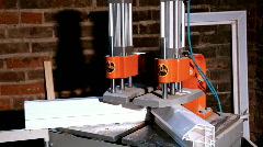 Machine for Weld plastic corner Stock Footage