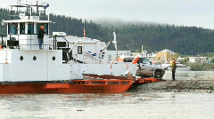 Yukon River ferry unload RV P HD 1464 Stock Footage