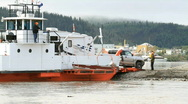 Yukon River ferry unload RV P HD 1464 Stock Footage