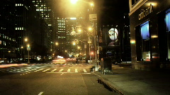 New York City Cross Street at Night Stock Footage