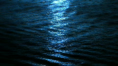 Moon Light On The Blue Ocean Stock Footage