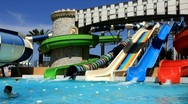 Recreation area with aquapark Stock Footage