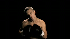 Boxer Gets Mouthpiece In Corner 1 (slow motion) Stock Footage