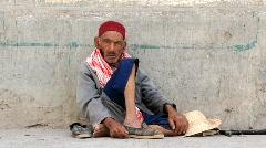 Tunisian beggar Stock Footage