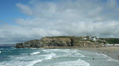Waves and clouds time lapse in Portreath, Cornwall UK. Stock Footage