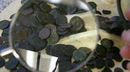 Treasure .roman coins Stock Footage