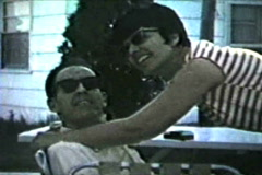 60's Couple kissing and smooching Stock Footage