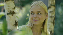 HD1080p25 Young attractive happy teenager girl. Meadow Stock Footage