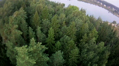 fly over forest and water aerial - stock footage