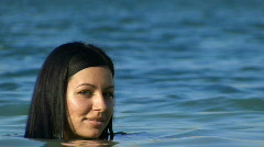 Close up of a Young Woman Swimming Stock Footage