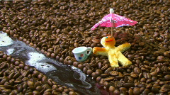 One Cookie Man Relax in Coffee Land with Chocolate River Stock Footage