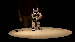 Playful NAO Humanoid Robot relaxing by dancing - stock footage