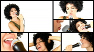 Woman with afro, isolated on white background, montage Stock Footage