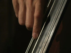 Close up musician's fingers playing bass Stock Footage