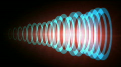 Abstract circle ring ripple pulse laser,sound tunnel,wireless Internet data. Stock Footage