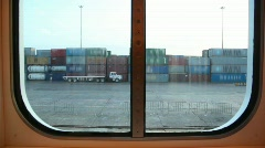 A lot of containers in sea port Stock Footage
