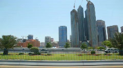 Skyscrapers in Abu Dhabi, view from moving car Stock Footage