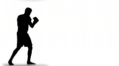 Silhouette of Boxer throwing punches in slow motion black and white profile Stock Footage