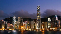 Hong Kong Victoria Harbor At Night Stock Footage