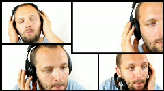 Man listening to the music, isolated on white, montage Stock Footage