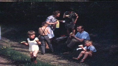 Family picknick in the 1960s (vintage 8 mm amateur film) Stock Footage