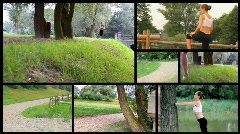Attractive woman jogging, exercising in the park, montage - stock footage