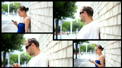 Man and woman using cell phone, montage  - stock footage