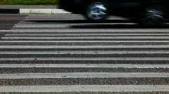 Zebra crossing road with moving cars Stock Footage