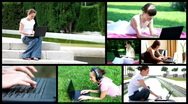Attractive woman working with laptop outdoors, montage Stock Footage