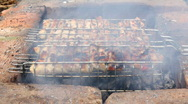 Cooking barbecue on grill Stock Footage