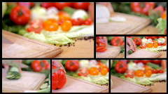 Slicing vegetables, dolly shot, montage Stock Footage
