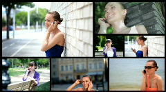 Attractive woman using cell phone, montage - stock footage