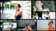 Attractive woman using cell phone, montage Stock Footage