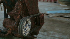 Rusted pump on a deck of a slowly moving fisherman's boat HD Stock Footage