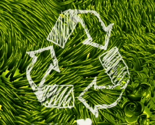 Recycle Sign Scribbling on Green Environment PAL - stock footage