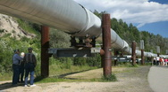 Alaska pipeline men P HD 7944 Stock Footage