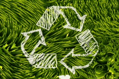 Recycle Sign Scribbling on Green Environment NTSC - stock footage