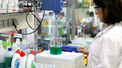 Chemical Engineer Working With Chemicals Stock Footage