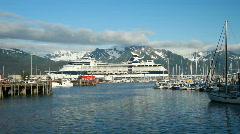 Cruise ship Seward Alaska marina P HD 8124 Stock Footage