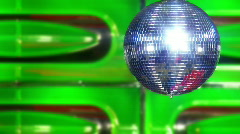 Disco mirror ball green slowly Stock Footage