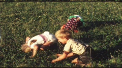 Children turning somersaults (vintage 8 mm amateur film) Stock Footage