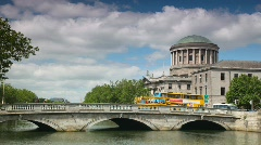 Transport moves on the bridge, summer day. Dublin, Ireland. Stock Footage