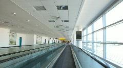 Travelator in Ruzyne - Prague Airport. Stock Footage
