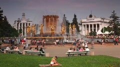 Square in All-Russian Exhibition Centre (VDNKH) with fountain. Stock Footage