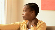 Close up of serious African American woman thinking Stock Footage